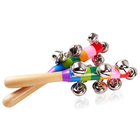 2019 Hot Selling Rainbow Colored Metal Bell Wood Toys Baby Rattle With Fine Paint